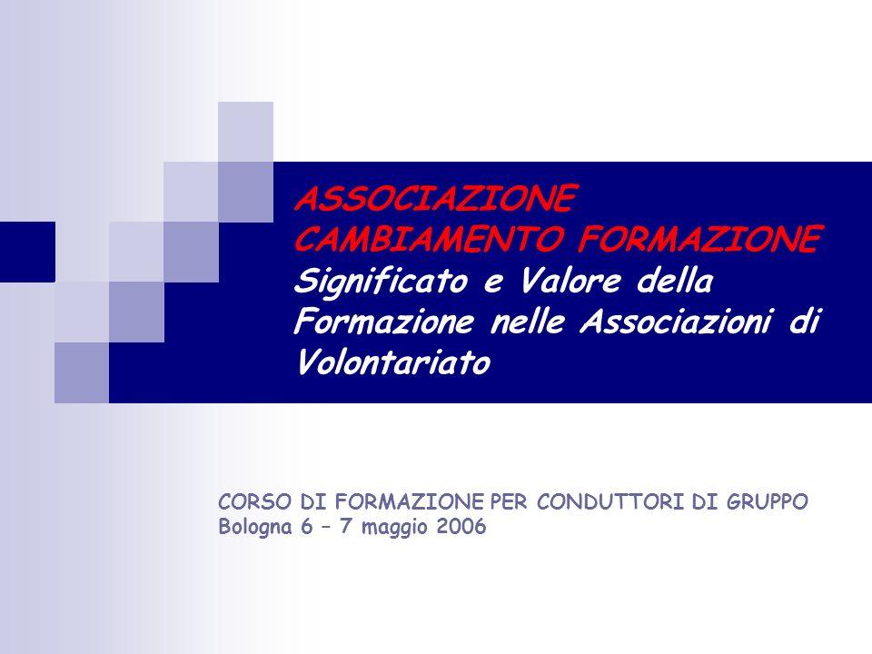 … Introduzione Associazione Cambiamento … Pausa Formazione Una proposta … per cominciare … Pausa Lavoro di gruppo Lavoro di gruppo