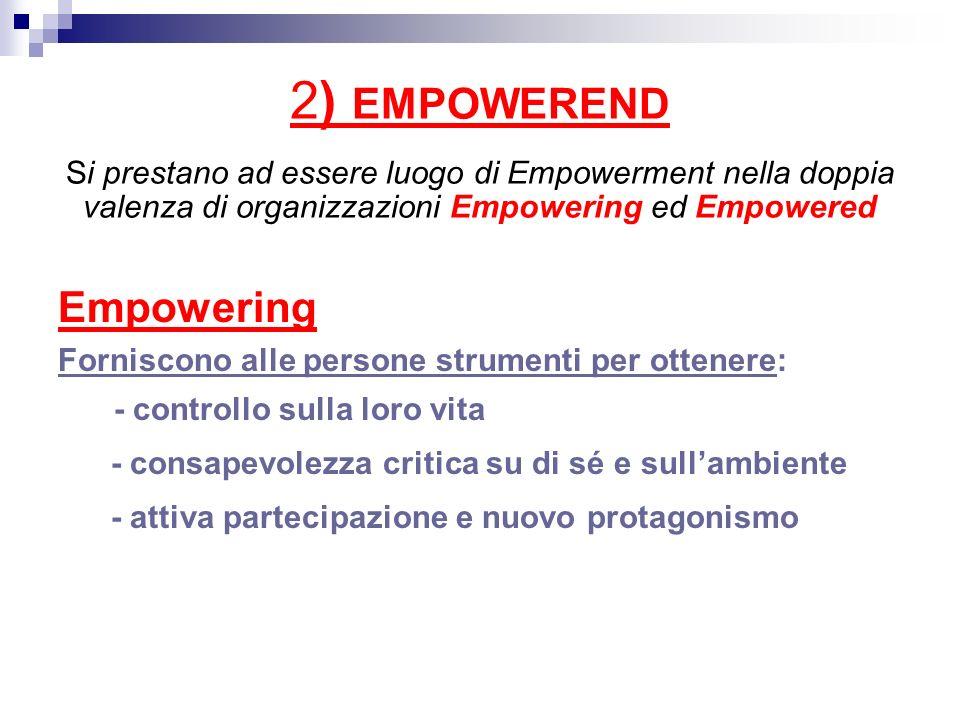 2) EMPOWEREND Si prestano ad essere luogo di Empowerment nella doppia valenza di organizzazioni Empowering ed Empowered Empowering Forniscono alle per