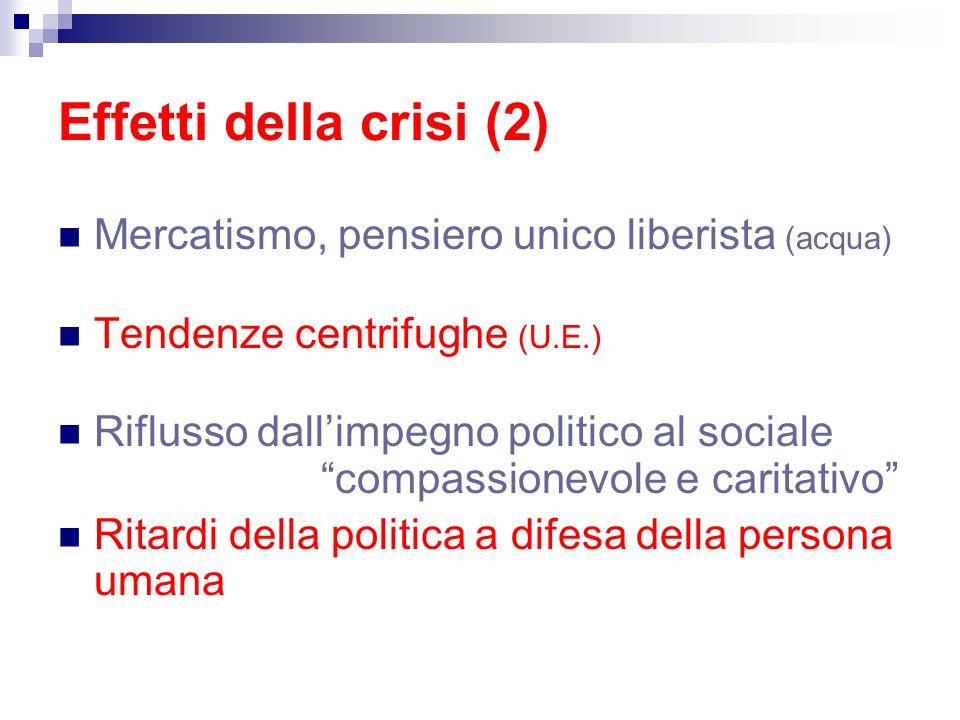 Effetti della crisi (2) Mercatismo, pensiero unico liberista (acqua) Tendenze centrifughe (U.E.) Riflusso dallimpegno politico al sociale compassionev