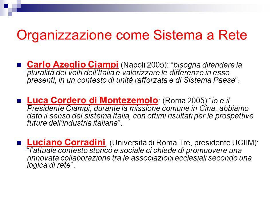 Organizzazione come Sistema a Rete Carlo Azeglio Ciampi (Napoli 2005): bisogna difendere la pluralità dei volti dellItalia e valorizzare le differenze