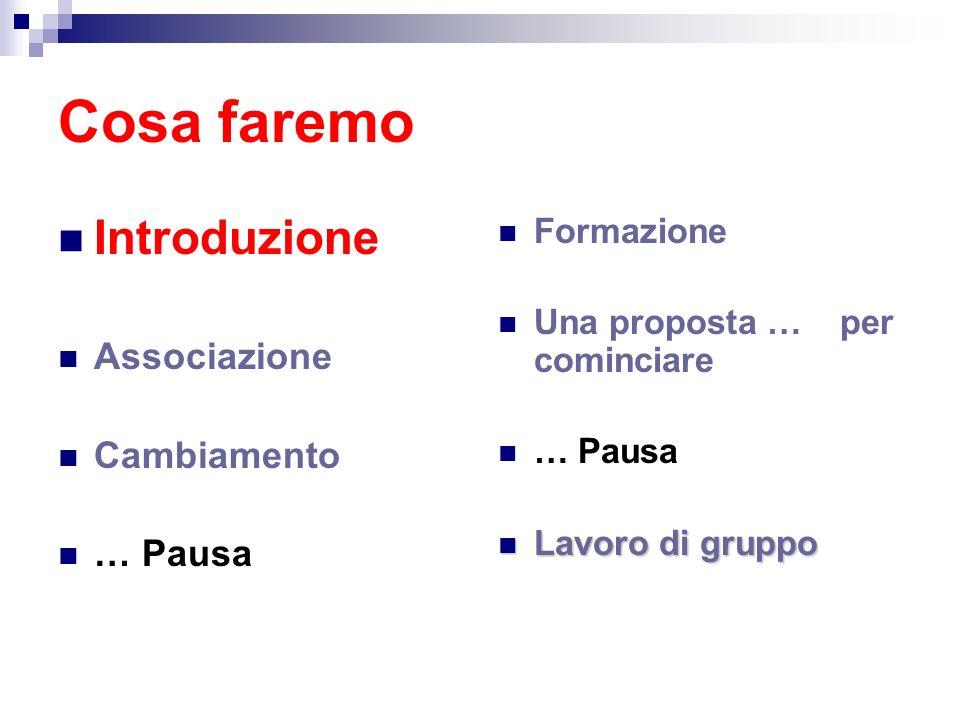 Cosa faremo Introduzione Associazione Cambiamento … Pausa Formazione Una proposta … per cominciare … Pausa Lavoro di gruppo Lavoro di gruppo