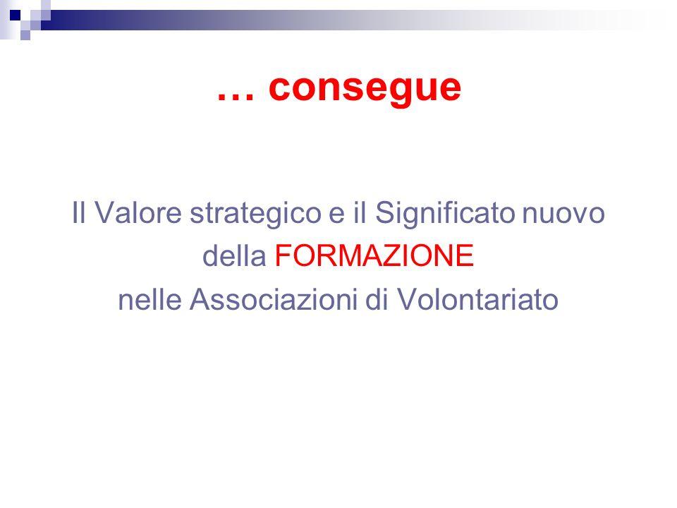 … consegue Il Valore strategico e il Significato nuovo della FORMAZIONE nelle Associazioni di Volontariato