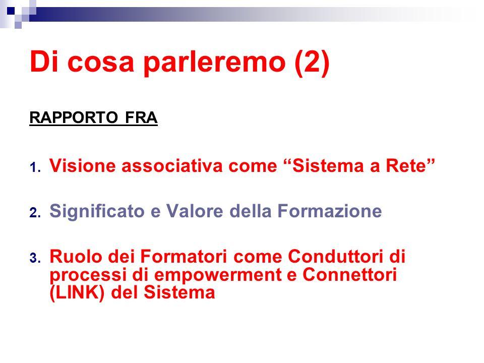 Di cosa parleremo (2) RAPPORTO FRA 1. Visione associativa come Sistema a Rete 2. Significato e Valore della Formazione 3. Ruolo dei Formatori come Con