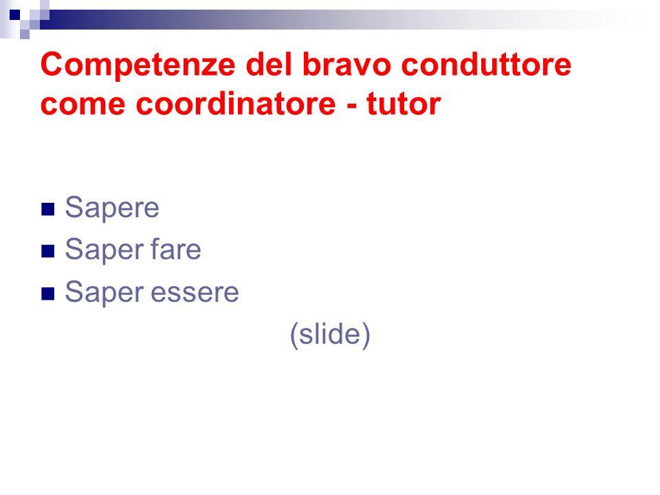 Competenze del bravo conduttore come coordinatore - tutor Sapere Saper fare Saper essere (slide)
