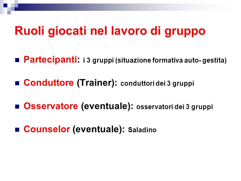 Ruoli giocati nel lavoro di gruppo Partecipanti: i 3 gruppi (situazione formativa auto- gestita) Conduttore (Trainer): conduttori dei 3 gruppi Osserva