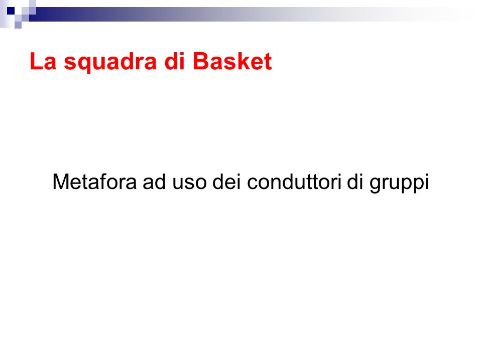 La squadra di Basket Metafora ad uso dei conduttori di gruppi