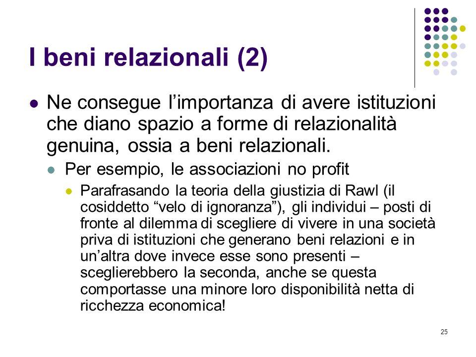 25 I beni relazionali (2) Ne consegue limportanza di avere istituzioni che diano spazio a forme di relazionalità genuina, ossia a beni relazionali.