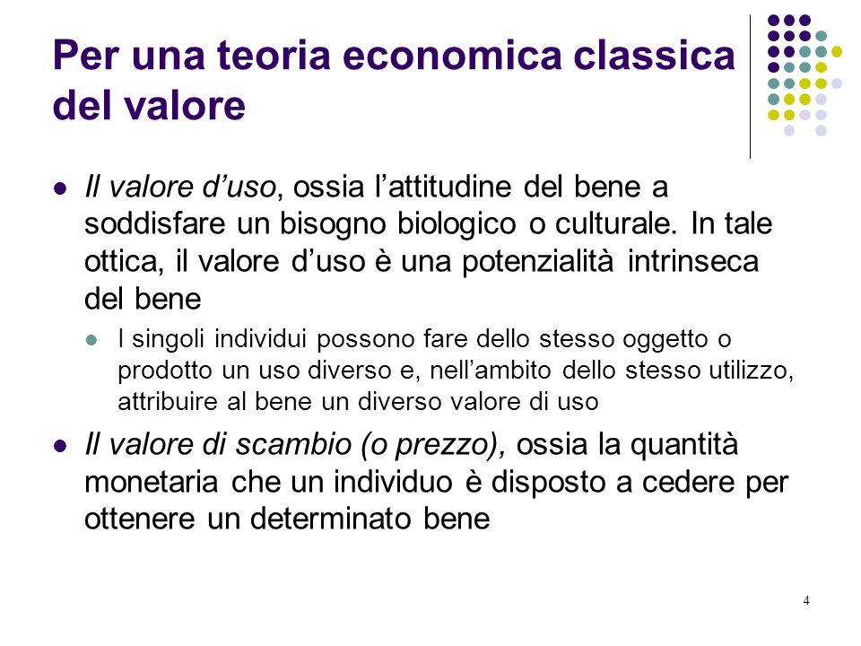 4 Per una teoria economica classica del valore Il valore duso, ossia lattitudine del bene a soddisfare un bisogno biologico o culturale.