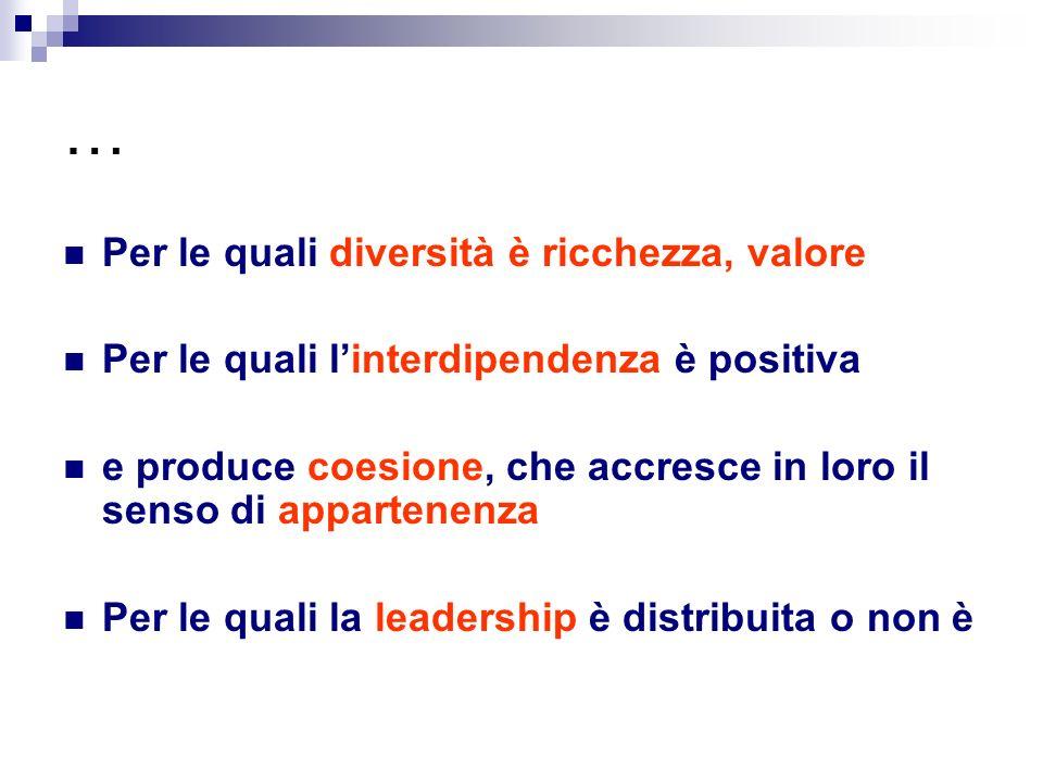 … Per le quali diversità è ricchezza, valore Per le quali linterdipendenza è positiva e produce coesione, che accresce in loro il senso di appartenenza Per le quali la leadership è distribuita o non è