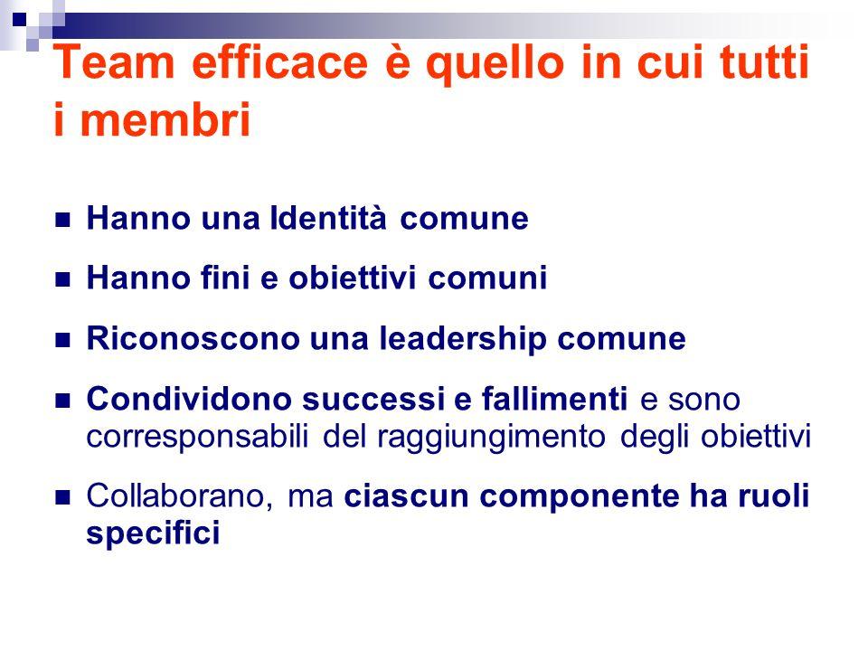 Team efficace è quello in cui tutti i membri Hanno una Identità comune Hanno fini e obiettivi comuni Riconoscono una leadership comune Condividono successi e fallimenti e sono corresponsabili del raggiungimento degli obiettivi Collaborano, ma ciascun componente ha ruoli specifici