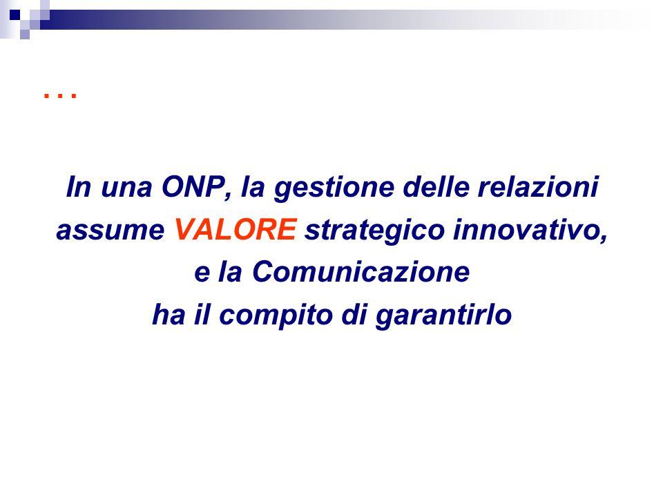 … In una ONP, la gestione delle relazioni assume VALORE strategico innovativo, e la Comunicazione ha il compito di garantirlo