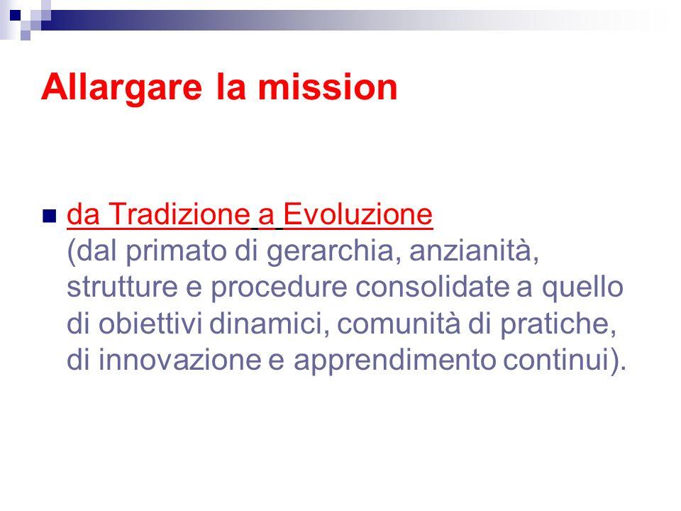Allargare la mission da Tradizione a Evoluzione (dal primato di gerarchia, anzianità, strutture e procedure consolidate a quello di obiettivi dinamici, comunità di pratiche, di innovazione e apprendimento continui).