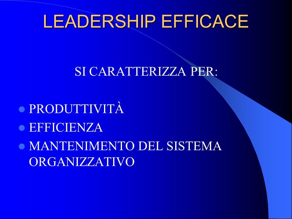 LEADERSHIP EFFICACE SI CARATTERIZZA PER: PRODUTTIVITÀ EFFICIENZA MANTENIMENTO DEL SISTEMA ORGANIZZATIVO