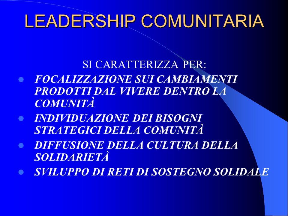 LEADERSHIP COMUNITARIA SI CARATTERIZZA PER: FOCALIZZAZIONE SUI CAMBIAMENTI PRODOTTI DAL VIVERE DENTRO LA COMUNITÀ INDIVIDUAZIONE DEI BISOGNI STRATEGIC