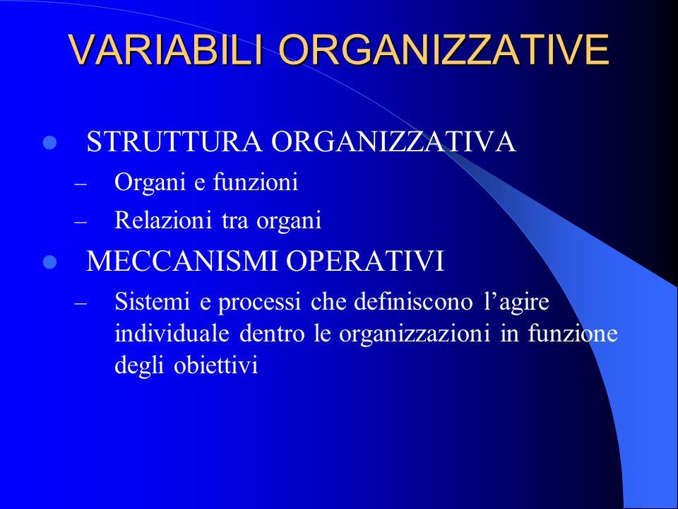 VARIABILI ORGANIZZATIVE STRUTTURA ORGANIZZATIVA – Organi e funzioni – Relazioni tra organi MECCANISMI OPERATIVI – Sistemi e processi che definiscono l