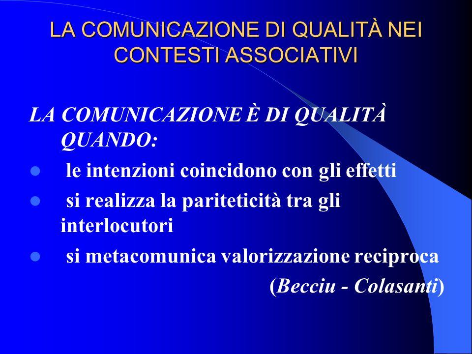 LA COMUNICAZIONE DI QUALITÀ NEI CONTESTI ASSOCIATIVI LA COMUNICAZIONE È DI QUALITÀ QUANDO: le intenzioni coincidono con gli effetti si realizza la par