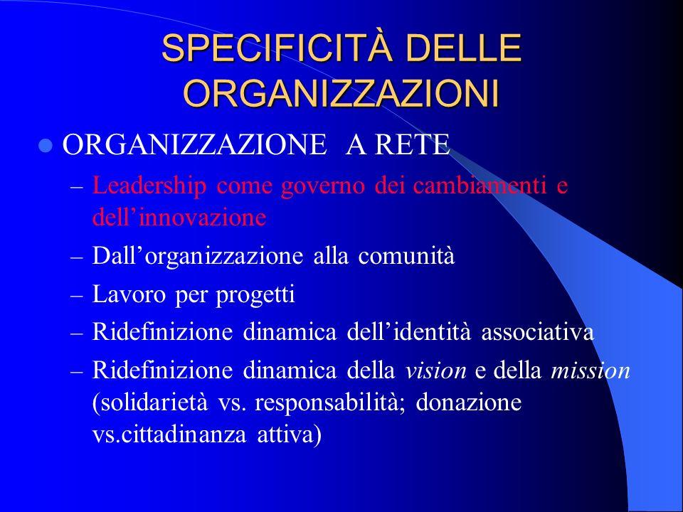 SPECIFICITÀ DELLE ORGANIZZAZIONI ORGANIZZAZIONE A RETE – Leadership come governo dei cambiamenti e dellinnovazione – Dallorganizzazione alla comunità
