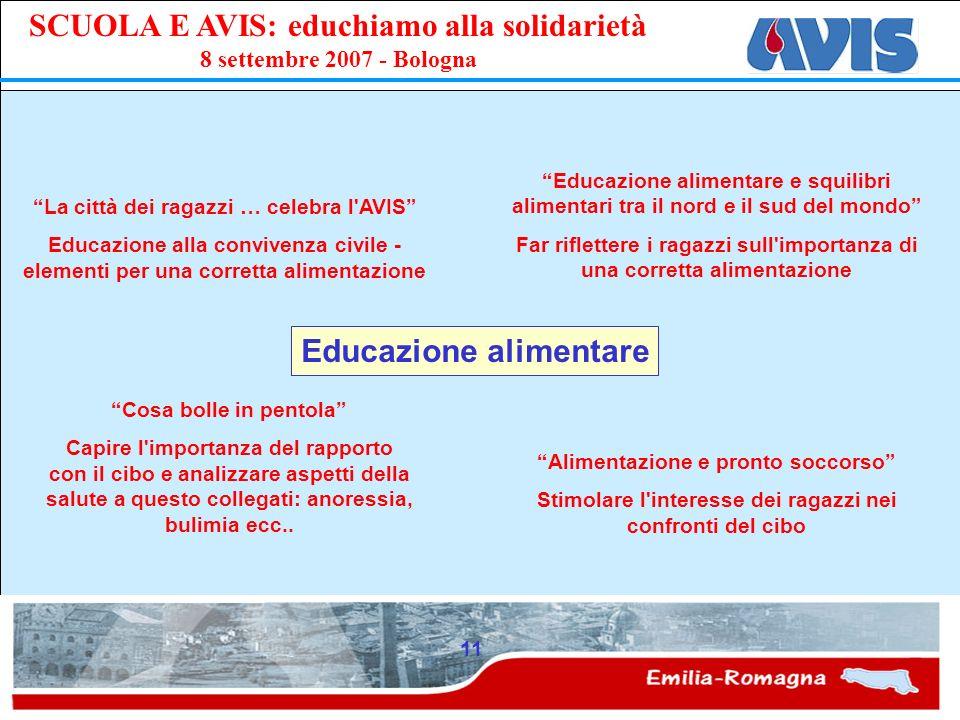 PPE SCUOLA E AVIS: educhiamo alla solidarietà 8 settembre 2007 - Bologna 11 Educazione alimentare La città dei ragazzi … celebra l'AVIS Educazione all
