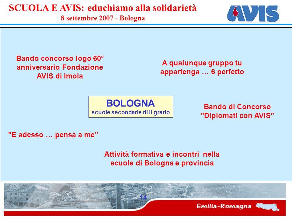 PPE SCUOLA E AVIS: educhiamo alla solidarietà 8 settembre 2007 - Bologna 14 BOLOGNA scuole secondarie di II grado Bando di Concorso