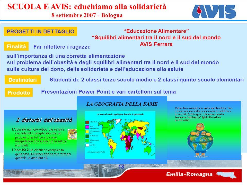 PPE SCUOLA E AVIS: educhiamo alla solidarietà 8 settembre 2007 - Bologna 18 PROGETTI IN DETTAGLIO Educazione Alimentare Squilibri alimentari tra il no
