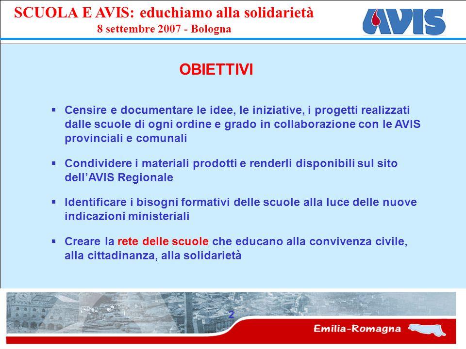 PPE SCUOLA E AVIS: educhiamo alla solidarietà 8 settembre 2007 - Bologna 2 OBIETTIVI Censire e documentare le idee, le iniziative, i progetti realizza