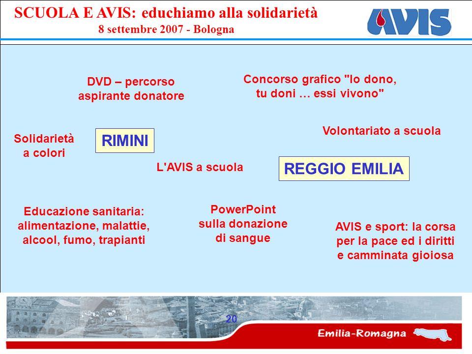 PPE SCUOLA E AVIS: educhiamo alla solidarietà 8 settembre 2007 - Bologna 20 RIMINI DVD – percorso aspirante donatore Solidarietà a colori Educazione s