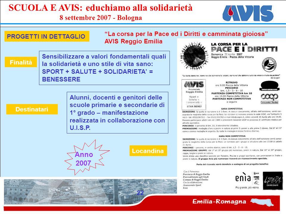 PPE SCUOLA E AVIS: educhiamo alla solidarietà 8 settembre 2007 - Bologna 22 PROGETTI IN DETTAGLIO La corsa per la Pace ed i Diritti e camminata gioios