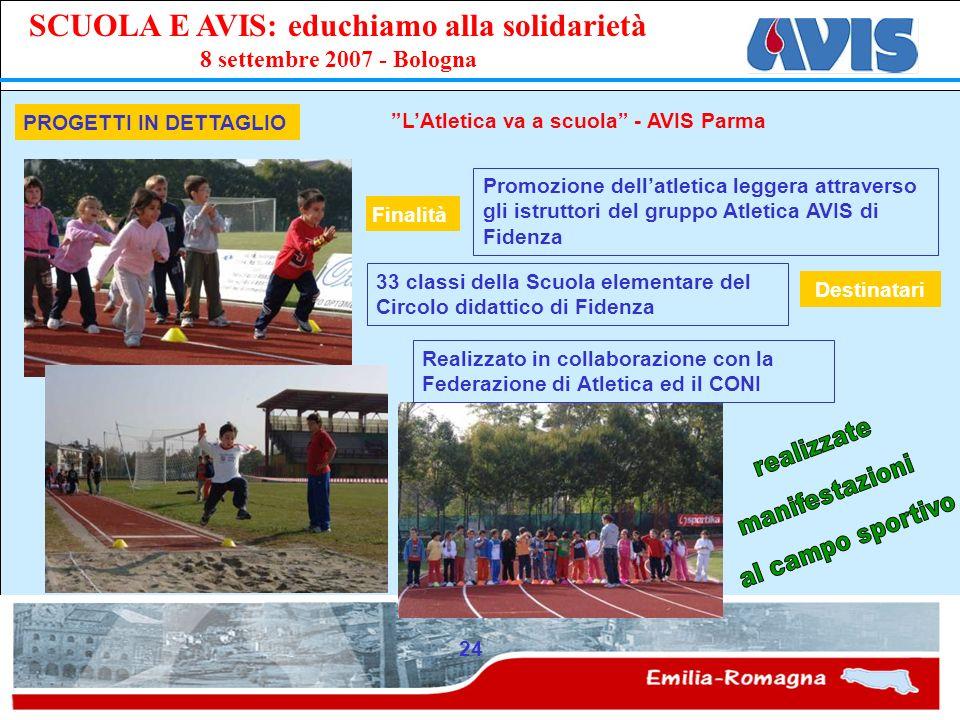 PPE SCUOLA E AVIS: educhiamo alla solidarietà 8 settembre 2007 - Bologna 24 PROGETTI IN DETTAGLIO LAtletica va a scuola - AVIS Parma Promozione dellat
