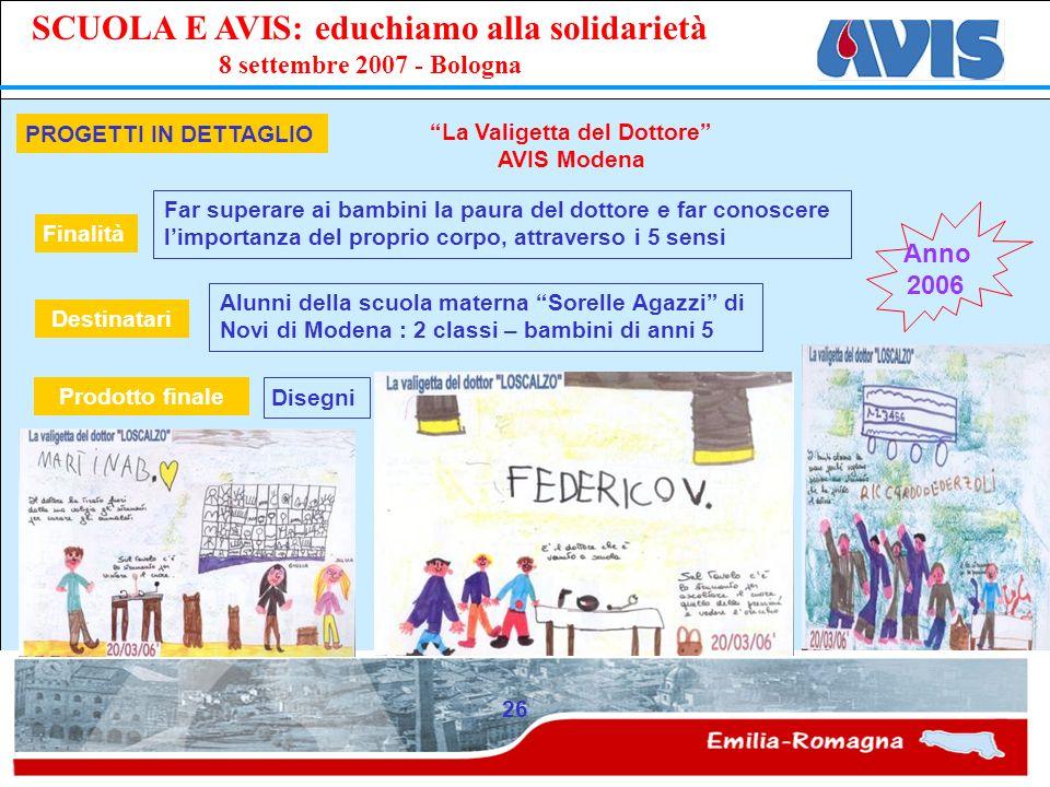 PPE SCUOLA E AVIS: educhiamo alla solidarietà 8 settembre 2007 - Bologna 26 PROGETTI IN DETTAGLIO La Valigetta del Dottore AVIS Modena Far superare ai