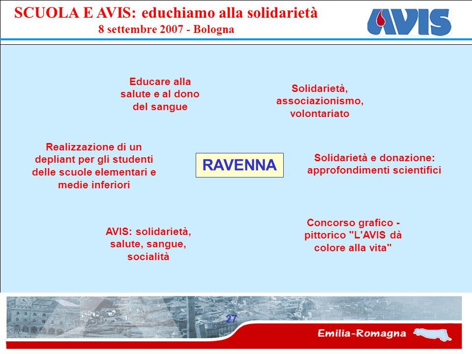 PPE SCUOLA E AVIS: educhiamo alla solidarietà 8 settembre 2007 - Bologna 27 RAVENNA Realizzazione di un depliant per gli studenti delle scuole element