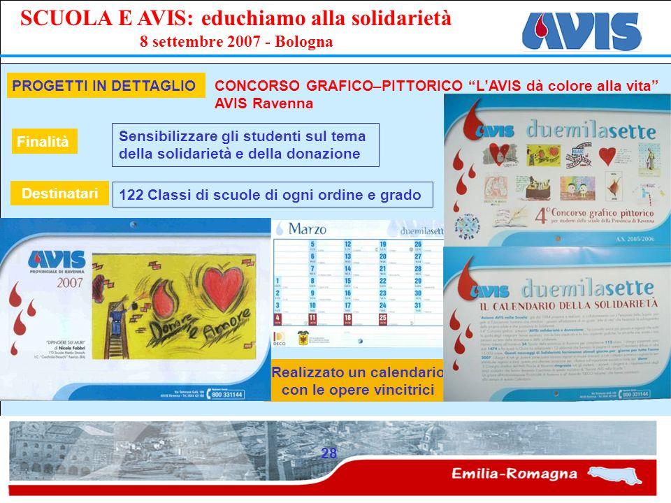 PPE SCUOLA E AVIS: educhiamo alla solidarietà 8 settembre 2007 - Bologna 28 Realizzato un calendario con le opere vincitrici PROGETTI IN DETTAGLIO CON