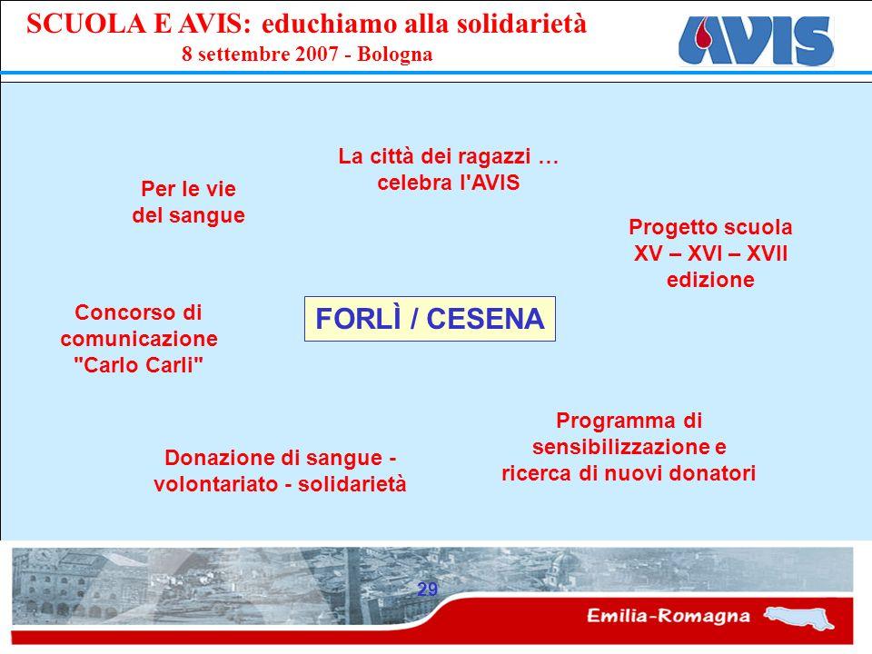 PPE SCUOLA E AVIS: educhiamo alla solidarietà 8 settembre 2007 - Bologna 29 FORLÌ / CESENA Per le vie del sangue La città dei ragazzi … celebra l'AVIS