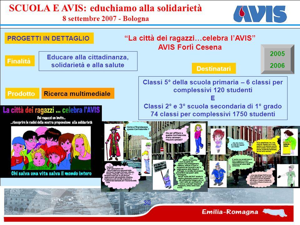 PPE SCUOLA E AVIS: educhiamo alla solidarietà 8 settembre 2007 - Bologna 30 PROGETTI IN DETTAGLIO La città dei ragazzi…celebra lAVIS AVIS Forlì Cesena