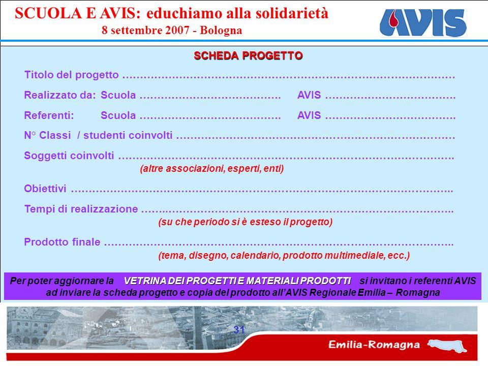 PPE SCUOLA E AVIS: educhiamo alla solidarietà 8 settembre 2007 - Bologna 31 SCHEDA PROGETTO Titolo del progetto ………………………………………………………………………………… Realiz