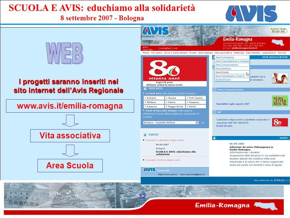 PPE SCUOLA E AVIS: educhiamo alla solidarietà 8 settembre 2007 - Bologna 32 www.avis.it/emilia-romagna I progetti saranno inseriti nel sito internet d