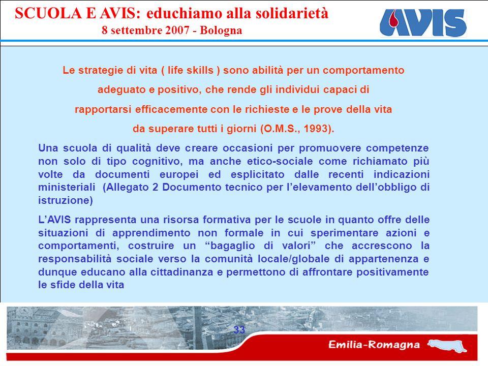 PPE SCUOLA E AVIS: educhiamo alla solidarietà 8 settembre 2007 - Bologna 33 Le strategie di vita ( life skills ) sono abilità per un comportamento ade