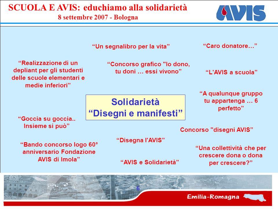 PPE SCUOLA E AVIS: educhiamo alla solidarietà 8 settembre 2007 - Bologna 6 Solidarietà Disegni e manifesti Goccia su goccia.. Insieme si può Disegna l