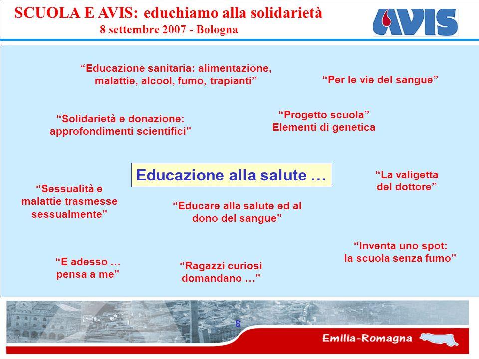 PPE SCUOLA E AVIS: educhiamo alla solidarietà 8 settembre 2007 - Bologna 8 Educazione alla salute … Educazione sanitaria: alimentazione, malattie, alc