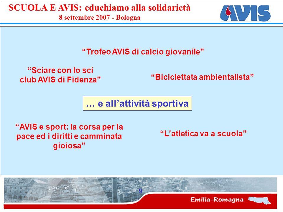 PPE SCUOLA E AVIS: educhiamo alla solidarietà 8 settembre 2007 - Bologna 9 … e allattività sportiva Latletica va a scuola Sciare con lo sci club AVIS
