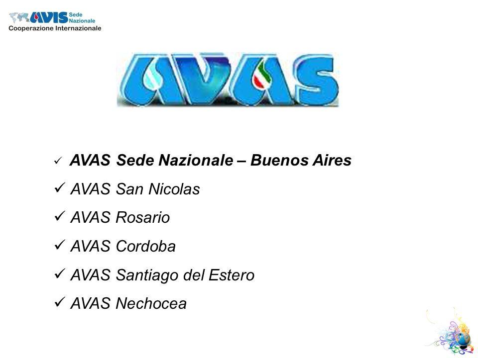 AVAS Sede Nazionale – Buenos Aires AVAS San Nicolas AVAS Rosario AVAS Cordoba AVAS Santiago del Estero AVAS Nechocea
