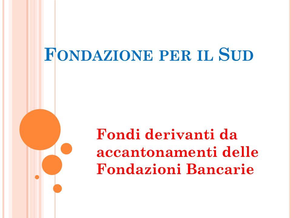 F ONDAZIONE PER IL S UD Fondi derivanti da accantonamenti delle Fondazioni Bancarie