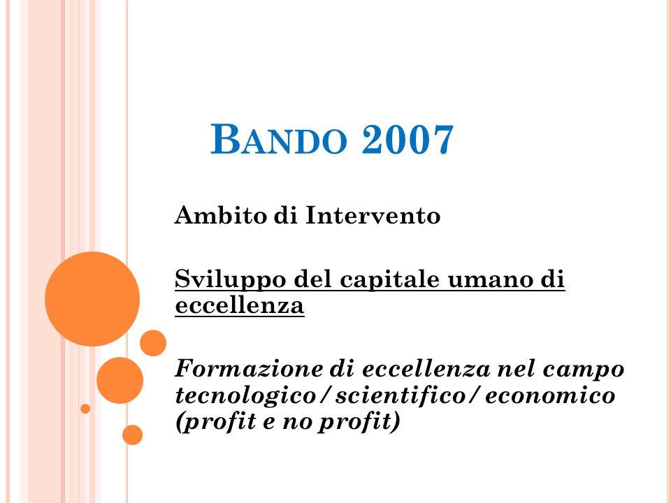 B ANDO 2007 Ambito di Intervento Sviluppo del capitale umano di eccellenza Formazione di eccellenza nel campo tecnologico / scientifico / economico (p