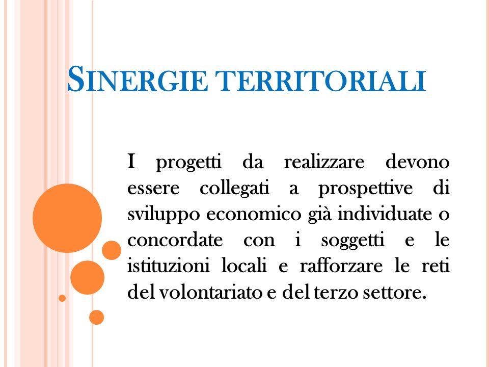 S INERGIE TERRITORIALI I progetti da realizzare devono essere collegati a prospettive di sviluppo economico già individuate o concordate con i soggett