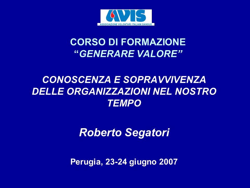 CORSO DI FORMAZIONEGENERARE VALORE CONOSCENZA E SOPRAVVIVENZA DELLE ORGANIZZAZIONI NEL NOSTRO TEMPO Roberto Segatori Perugia, 23-24 giugno 2007