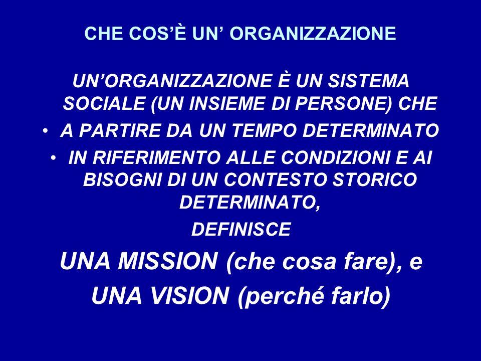 CHE COSÈ UN ORGANIZZAZIONE UNORGANIZZAZIONE È UN SISTEMA SOCIALE (UN INSIEME DI PERSONE) CHE A PARTIRE DA UN TEMPO DETERMINATO IN RIFERIMENTO ALLE CONDIZIONI E AI BISOGNI DI UN CONTESTO STORICO DETERMINATO, DEFINISCE UNA MISSION (che cosa fare), e UNA VISION (perché farlo)