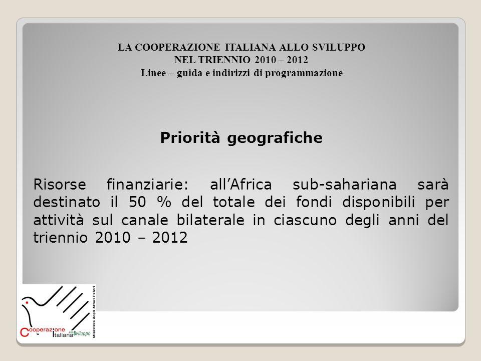 Priorità geografiche Risorse finanziarie: allAfrica sub-sahariana sarà destinato il 50 % del totale dei fondi disponibili per attività sul canale bila