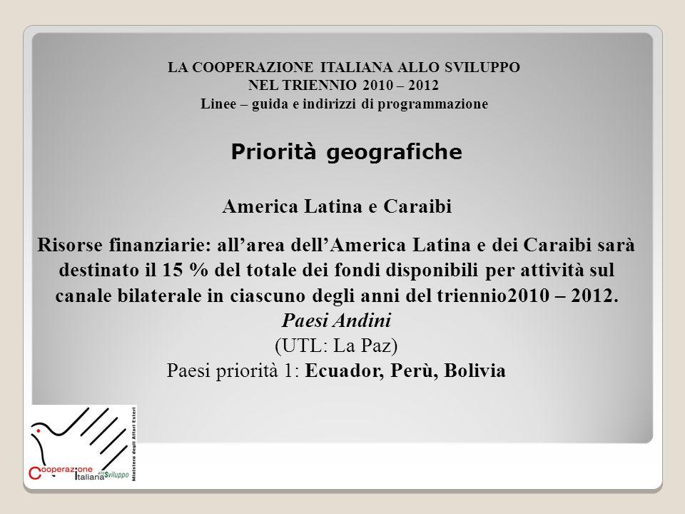 America Latina e Caraibi Risorse finanziarie: allarea dellAmerica Latina e dei Caraibi sarà destinato il 15 % del totale dei fondi disponibili per att