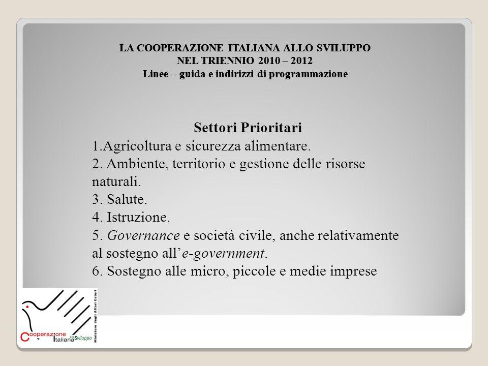 Settori Prioritari 1.Agricoltura e sicurezza alimentare. 2. Ambiente, territorio e gestione delle risorse naturali. 3. Salute. 4. Istruzione. 5. Gover