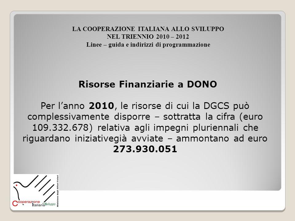 Risorse Finanziarie a DONO LA COOPERAZIONE ITALIANA ALLO SVILUPPO NEL TRIENNIO 2010 – 2012 Linee – guida e indirizzi di programmazione Per lanno 2010,