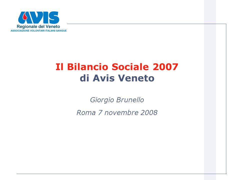 Il Bilancio Sociale 2007 di Avis Veneto Giorgio Brunello Roma 7 novembre 2008